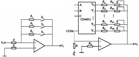 是用8选1的模拟开关cd4051组成的程控增益放大器电路